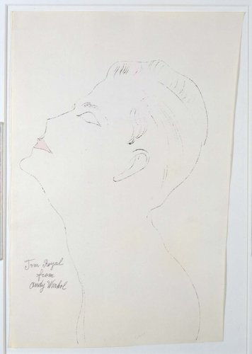 <div class=&#34;artist&#34;><strong>Andy Warhol</strong></div> (1928 -1987) <div class=&#34;title&#34;><em>Tom Royal</em>, c. 1956</div> <div class=&#34;signed_and_dated&#34;>Signed and titled 'Tom Royal from Andy Warhol'</div> <div class=&#34;medium&#34;>Ink and Dr Martin's Aniline Dye on Strathmore paper</div> <div class=&#34;dimensions&#34;>50 x 36 cm; (19 5/8 x 14 1/8 in.)</div>