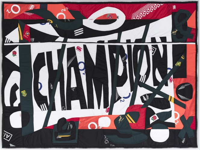 <div class=&#34;artist&#34;><strong>Hank Willis Thomas</strong></div> (b. 1976) <div class=&#34;title&#34;><em>Switchski's Syntax</em>, 2017</div> <div class=&#34;medium&#34;>Mixed media including sport jerseys</div> <div class=&#34;dimensions&#34;>179 x 237 cm; (70 1/2 x 93 1/4 in.)</div>