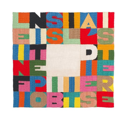 <div class=&#34;artist&#34;><strong>Alighiero Boetti</strong></div> (1940 - 1994) <div class=&#34;title&#34;><em>Le Infinite Possibilità di Esistere</em>, 1992</div> <div class=&#34;signed_and_dated&#34;>Signed on the reverse</div> <div class=&#34;medium&#34;>Embroidery</div> <div class=&#34;dimensions&#34;>33.5 x 35.5 cm; (13 1/4 x 14 in.)</div>