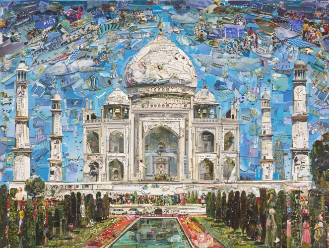 "<div class=""artist""><strong>Vik Muniz</strong></div> (b. 1961) <div class=""title""><em>Taj Mahal (Postcards from Nowhere)</em>, 2015</div> <div class=""medium"">Digital C-print</div> <div class=""dimensions"">180.3 x 240 cm; (71 x 94 1/2 in.)</div> <div class=""edition_details"">Edition of 6 + 4 AP</div>"