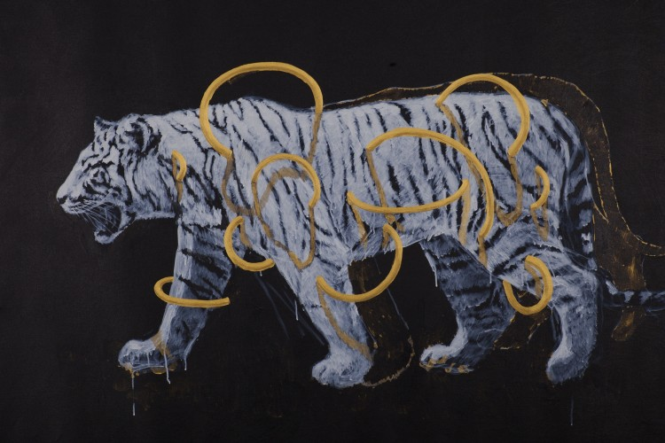 <div class=&#34;artist&#34;><strong>Ye Linghan</strong></div> (b. 1985) <div class=&#34;title&#34;><em>Gold Circle Tiger 02</em>, 2014</div> <div class=&#34;signed_and_dated&#34;>Signed and dated on the reverse</div> <div class=&#34;medium&#34;>Acrylic on canvas</div> <div class=&#34;dimensions&#34;>99.5 x 150 cm; (39 1/8 x 59 1/8 in.)</div>