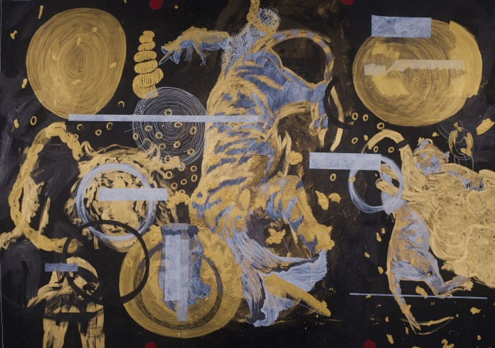 <div class=&#34;artist&#34;><strong>Ye Linghan</strong></div> (b. 1985) <div class=&#34;title&#34;><em>Gold Circle Tiger 01</em>, 2014</div> <div class=&#34;signed_and_dated&#34;>Signed and dated on the reverse</div> <div class=&#34;medium&#34;>Acrylic on canvas</div> <div class=&#34;dimensions&#34;>188 x 270 cm; (74 1/8 x 106 1/4 in.)</div>
