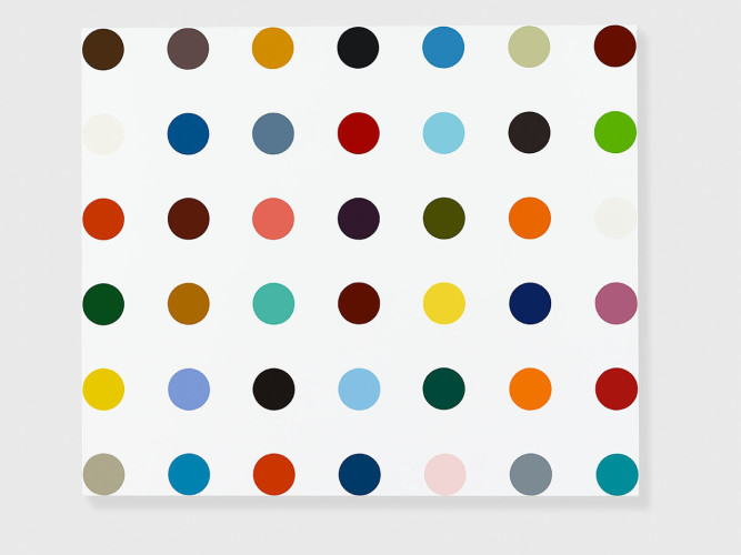 <div class=&#34;artist&#34;><strong>Damien Hirst</strong></div> (b. 1965) <div class=&#34;title&#34;><em>DHS 12678 Pimelonitrile</em>, 2010</div> <div class=&#34;medium&#34;>Household gloss on canvas</div> <div class=&#34;dimensions&#34;>83.8 x 99.1 cm; (33 x 39 1/8 in.)</div>