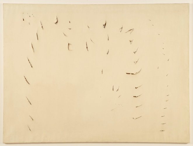 <div class=&#34;artist&#34;><strong>Lucio Fontana</strong></div> (1899 - 1968) <div class=&#34;title&#34;><em>Concetto Spaziale</em>, 1958</div> <div class=&#34;signed_and_dated&#34;>Signed, titled and dated 'l.Fontana / Concetto spaziale / 1958' on the reverse</div> <div class=&#34;medium&#34;>Incisions on paper canvas</div> <div class=&#34;dimensions&#34;>96 x 130 cm; (37 3/4 x 51 1/8 in.)</div>