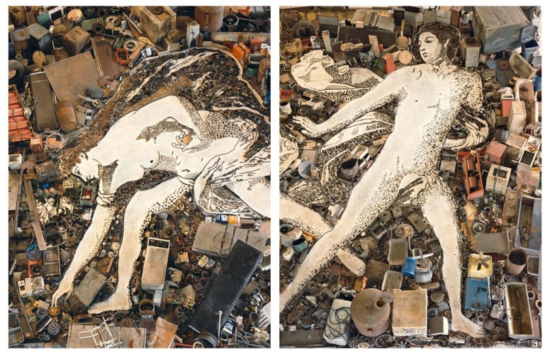 "<div class=""artist""><strong>Vik Muniz</strong></div> (b. 1961) <div class=""title""><em>Atalanta and Hippomenes, after Guido Reni (diptych) (Pictures of Junk)</em>, 2005</div> <div class=""medium"">Chromogenic prints</div> <div class=""dimensions"">2 panels, 236 x 180 cm; (92 7/8 x 70 7/8 in.) each</div> <div class=""edition_details"">Edition of 6 + 4 AP (#2/6)</div>"