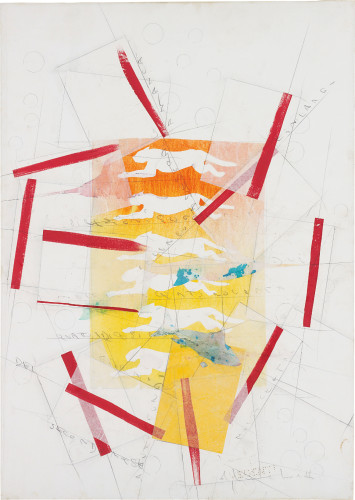 <div class=&#34;artist&#34;><strong>Alighiero Boetti</strong></div> (1940 - 1994) <div class=&#34;title&#34;><em>Senza Titolo (Pantere)</em>, 1990</div> <div class=&#34;signed_and_dated&#34;>Signed and inscribed</div> <div class=&#34;medium&#34;>Mixed media on paper laid down on canvas</div> <div class=&#34;dimensions&#34;>71 x 49 cm; (28 x 19 1/4 in.)</div>