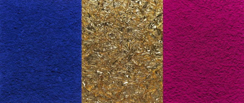 "<div class=""artist""><strong>Vik Muniz</strong></div> (b. 1961) <div class=""title""><em>Monochrome, Pink-Blue-Gold, after Yves Klein (Triptych) (Pictures of Pigment)</em>, 2016</div> <div class=""medium"">Digital C-print</div> <div class=""dimensions"">3 panels; 229.4 x 541 cm; (90 1/4 x 213 in.) overall</div> <div class=""edition_details"">Edition of 6 + 4 AP</div>"