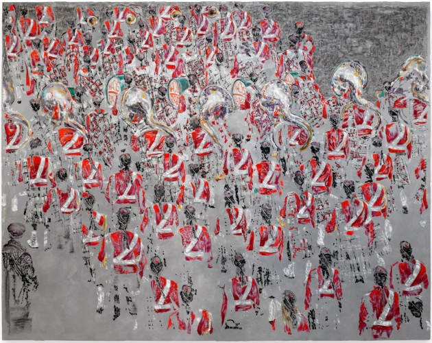 <div class=&#34;artist&#34;><strong>Ena Swansea</strong></div> (b. 1966) <div class=&#34;title&#34;><em>Scottish marching band</em>, 2017</div> <div class=&#34;signed_and_dated&#34;>Signed, titled and dated on the reverse</div> <div class=&#34;medium&#34;>Oil and acrylic on graphite on linen</div> <div class=&#34;dimensions&#34;>228.6 x 289.6 cm; (90 x 114 in.)</div>