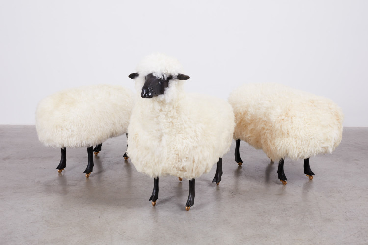 <div class=&#34;artist&#34;><strong>François-Xavier Lalanne</strong></div> (1927 - 2008) <div class=&#34;title&#34;><em>Moutons de Laine (Group of 3)</em>, 1965/1974</div> <div class=&#34;medium&#34;>Wool, bronze and wood on wheels</div> <div class=&#34;dimensions&#34;>Sheep with head: 95 x 100 x 46 cm; (37 3/8 x 39 3/8 x 18 1/8 in.) each<br />Grazing sheep: 53 x 80 x 45 cm; (20 7/8 x 31 1/2 x 17 3/4 in.) each</div>