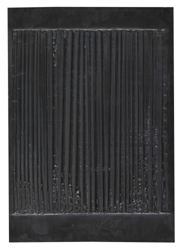 <div class=&#34;artist&#34;><strong>Heinz Mack</strong></div> (b. 1931) <div class=&#34;title&#34;><em>Schwarze Vibration [Black Vibration]</em>, 1958</div> <div class=&#34;signed_and_dated&#34;>Signed and dated 'mack 58'; signed twice, titled and dated 'mack 58, Schwarze Vibration' on the reverse</div> <div class=&#34;medium&#34;>Plaster on wood</div> <div class=&#34;dimensions&#34;>50 x 35 x 1.8 cm; (19 3/4 x 13 3/4 x 3/4 in.)</div>