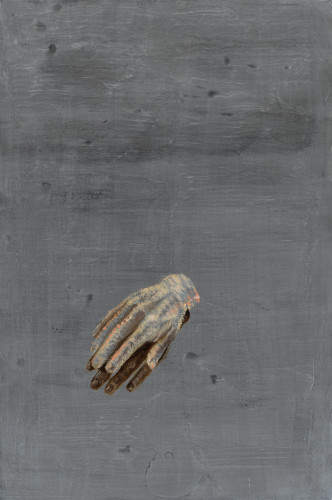 <div class=&#34;artist&#34;><strong>Ena Swansea</strong></div> (b. 1966) <div class=&#34;title&#34;><em>tiny plastic hands</em>, 2016</div> <div class=&#34;medium&#34;>Oil, urethane and stainless steel on cotton</div> <div class=&#34;dimensions&#34;>76.2 x 50.8 cm; (30 x 20 in.)</div>