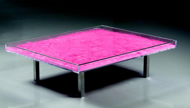 <div class=&#34;artist&#34;><strong>Yves Klein</strong></div> (1928 - 1962) <div class=&#34;title&#34;><em>Table Monopink™</em>, 1961/1963</div> <div class=&#34;medium&#34;>Rose madder pigment, glass, plexiglass and steel</div> <div class=&#34;dimensions&#34;>37 x 125 x 100 cm; (14 5/8 x 49 1/4 x 39 3/8 in.)</div>