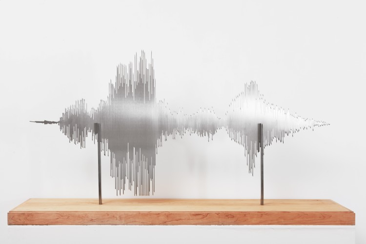 <div class=&#34;artist&#34;><strong>Yoan Capote</strong></div> (b. 1977) <div class=&#34;title&#34;><em>Lacerante (Mi Silencio)</em>, 2015</div> <div class=&#34;medium&#34;>Laser-cut stainless steel, wooden base</div> <div class=&#34;dimensions&#34;>85.7 x 162.8 x 50.9 cm; (33 3/4 x 64 1/8 x 20 1/8 in.)</div>