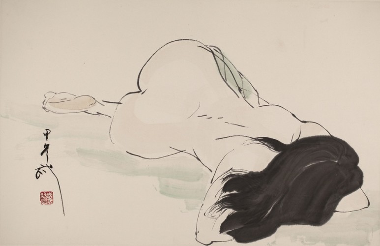 Qian Shaowu, Figure Line Drawing No. 11, 2014, Ink on paper, 58 x 90 cm.