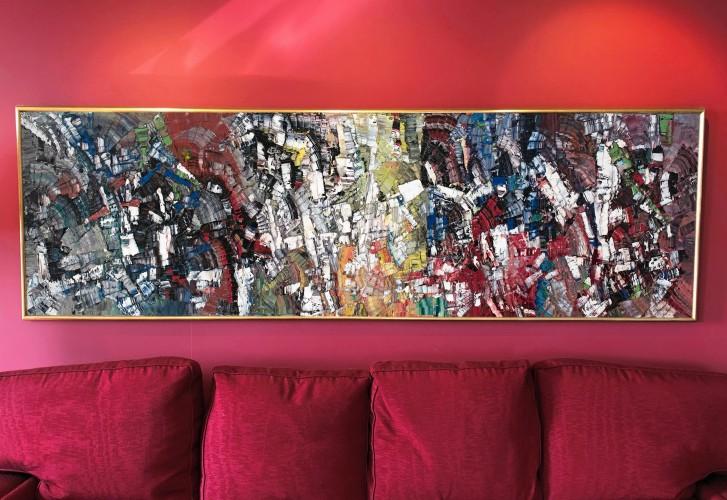 Jean Paul Riopelle, Landing, 1956, oil on canvas, 28 3/4 x 93 1/4 in (73 x 237 cm)