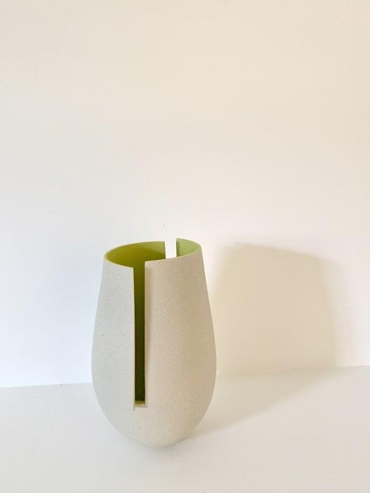 Ashraf Hanna, Light Grey Cut And Altered Vessel with Green Interior, 2020