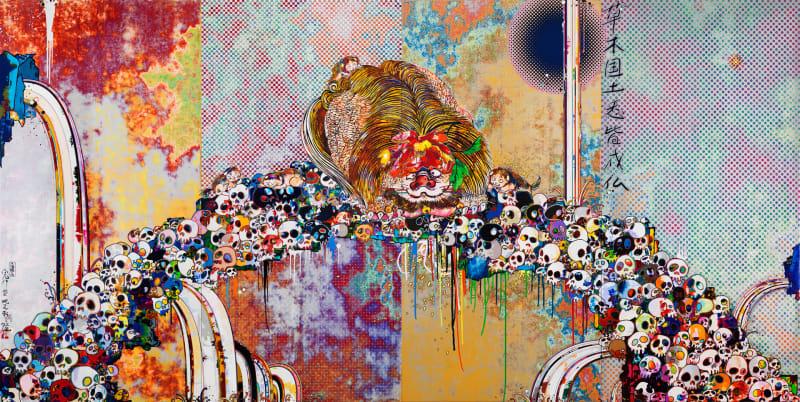 Takashi Murakami, Of Chinese Lions, Peonies, Skull and Fountains, 2012