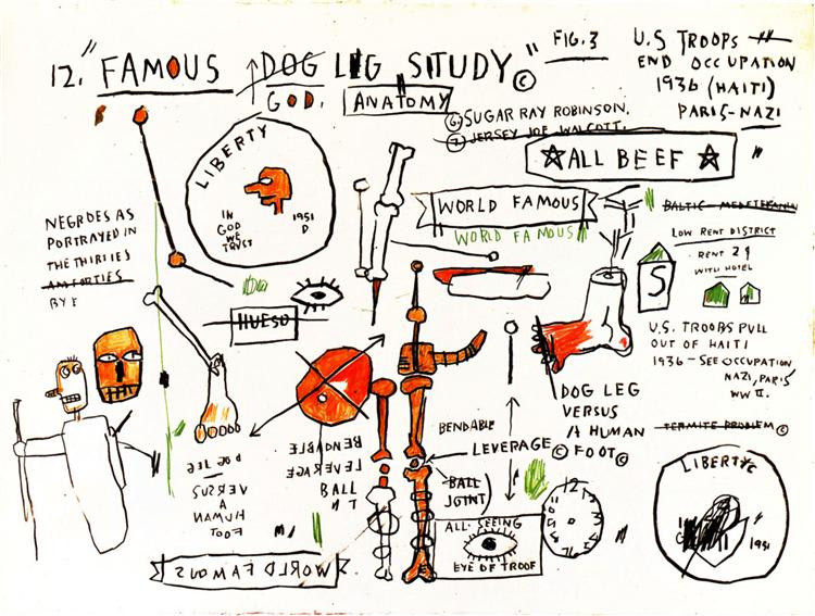 Jean-Michel Basquiat, DOG LEG STUDY, 1982