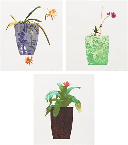 Jonas Wood, Three Landscape Pots , 2019