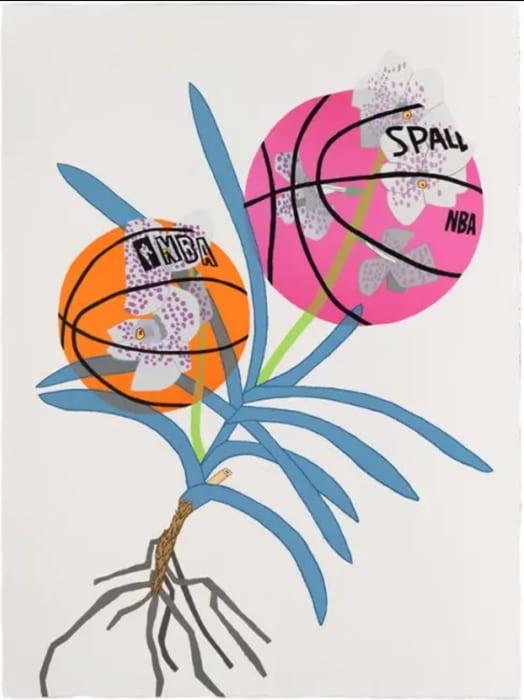 Jonas Wood, Double Basketball Orchid 2 (state II), 2020