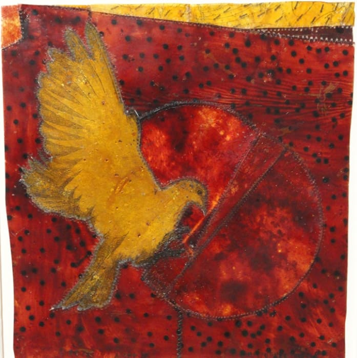 Christopher Pekoc, Aloft III (gold dove on red), 2011