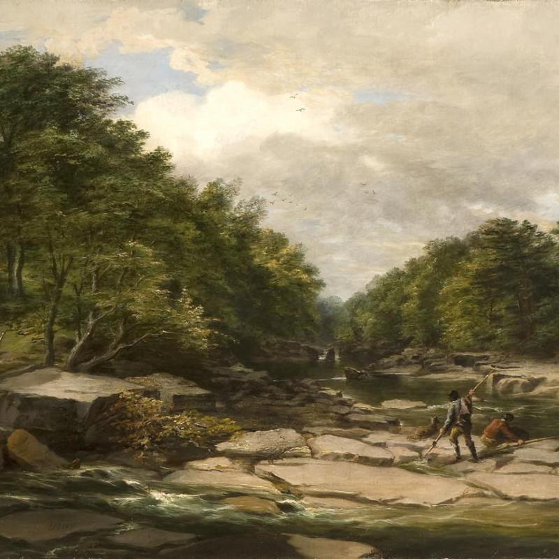 Isaac F Bird - Fishermen in a river landscape