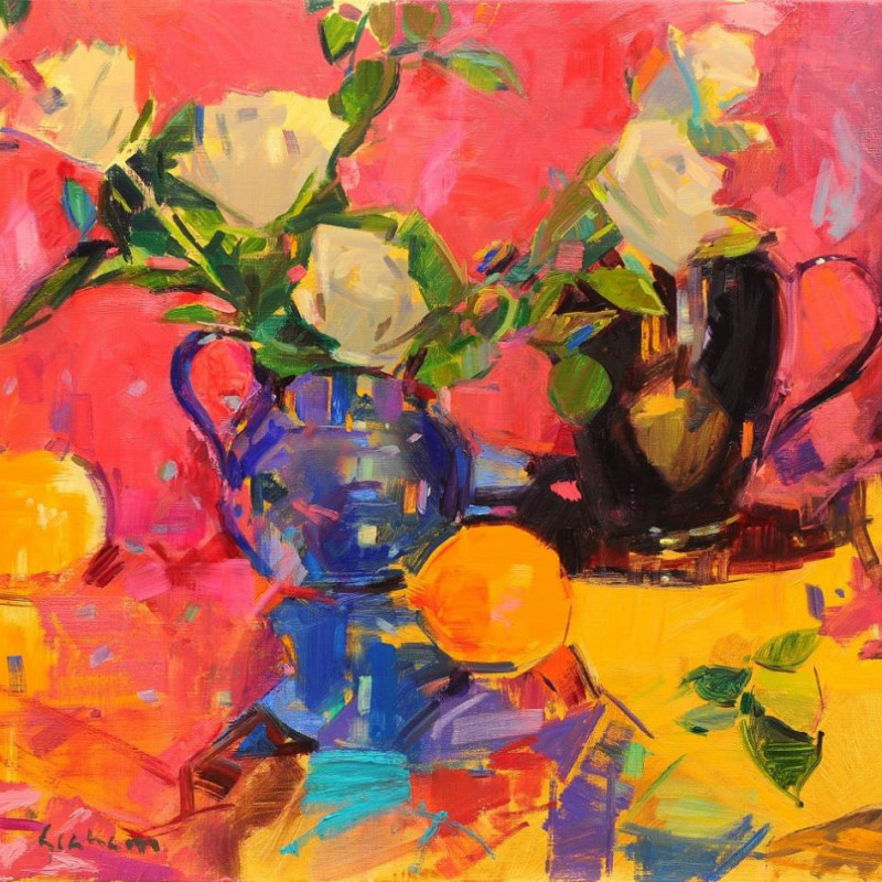 Peter Graham ROI - Roses in a blue jug