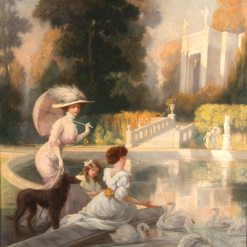 Jules Lentrein - Elegant Figures by Ornamental Pond