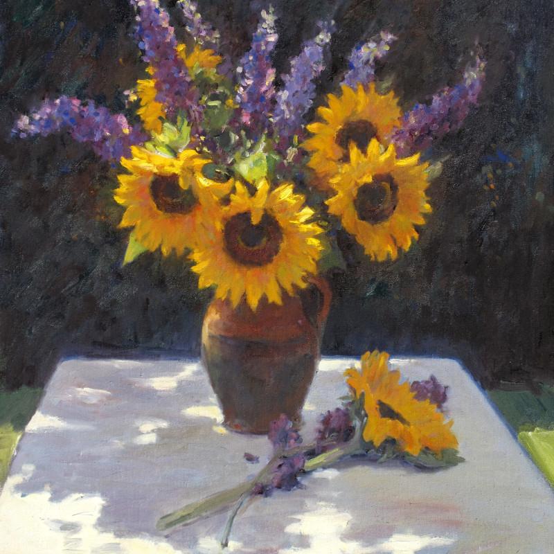 Edward Noott RBSA - Sunflowers and buddleia