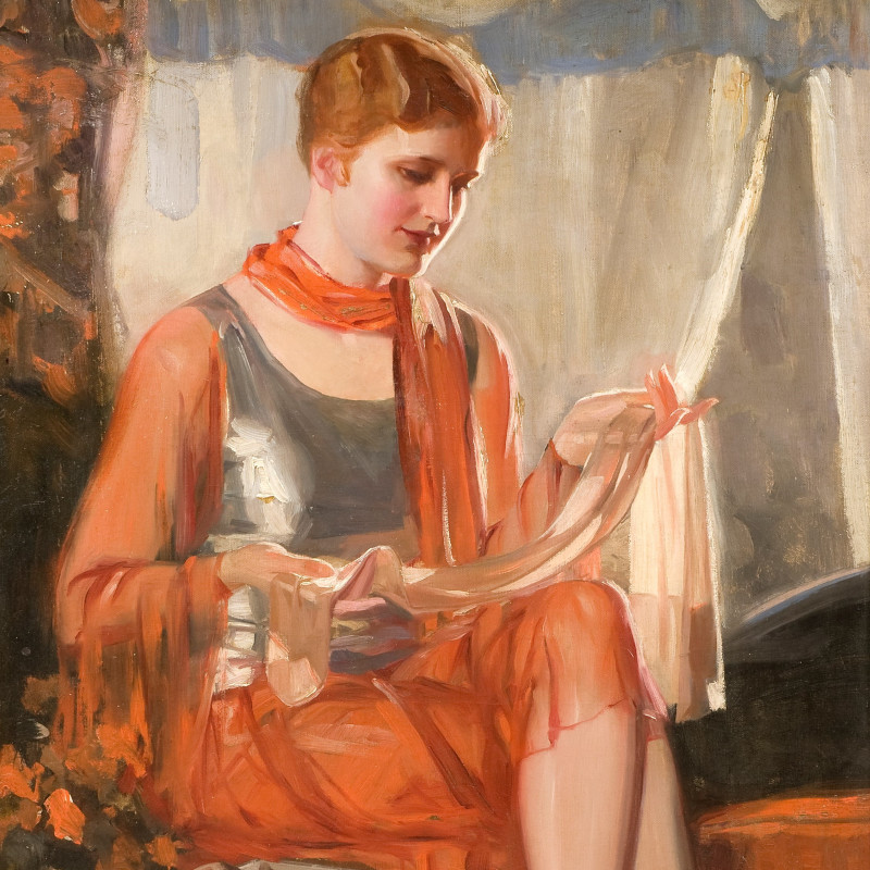Clifford Cyril Webb - Seated lady with stocking