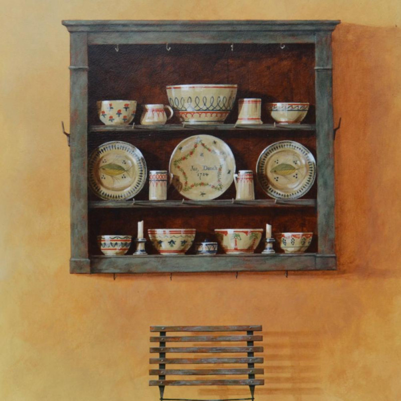 Ron Bone - Painted shelves & china 1996