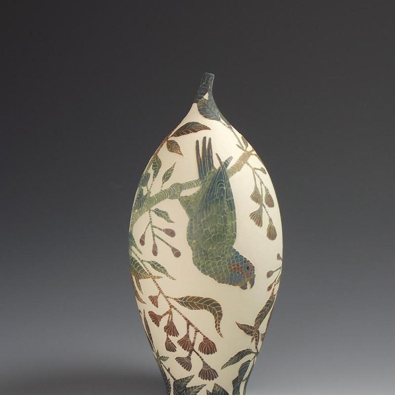 Tiffany Scull - Musk Lorikeets & Gum Tree vessel