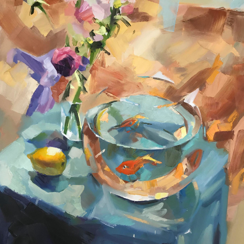 Alex Brown - Goldfish bowl on blue table