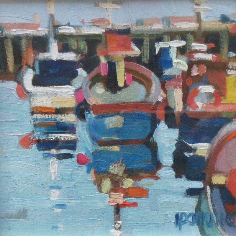 Lin Patullo, Harbour with moored boats