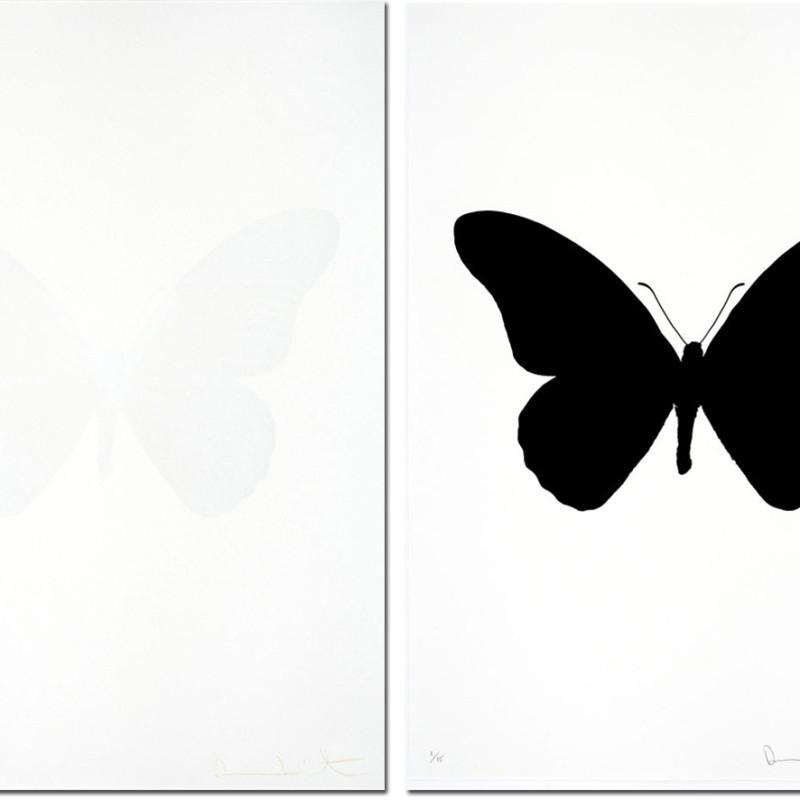 Damien Hirst, Souls IV raven black/cotton white- sold as a pair