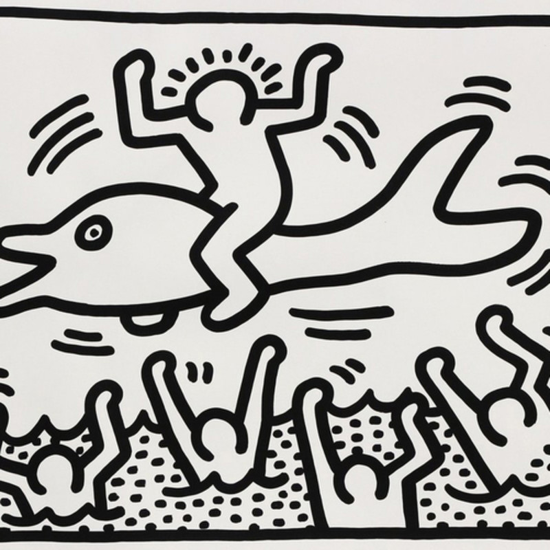 Keith Haring, Untitled (Man on Dolphin), 1987