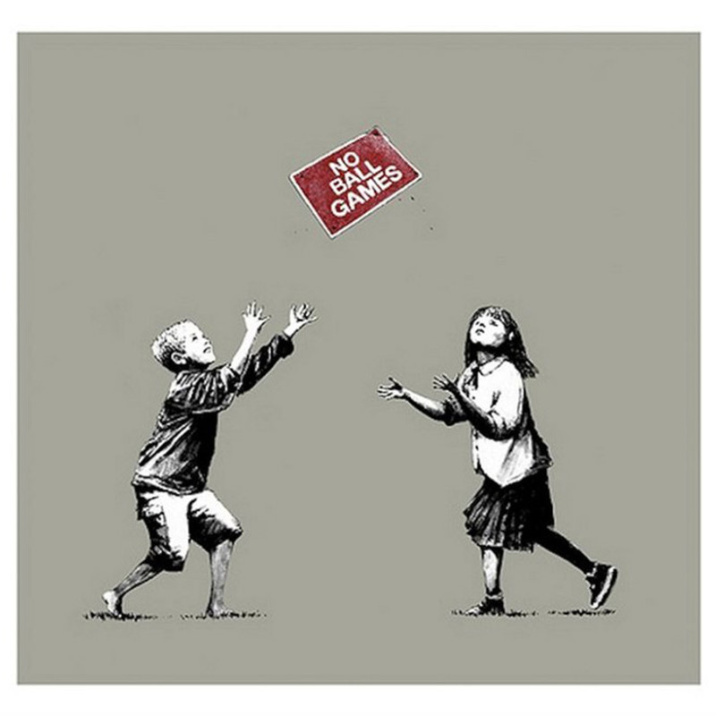 Banksy, No Ball Games (grey)