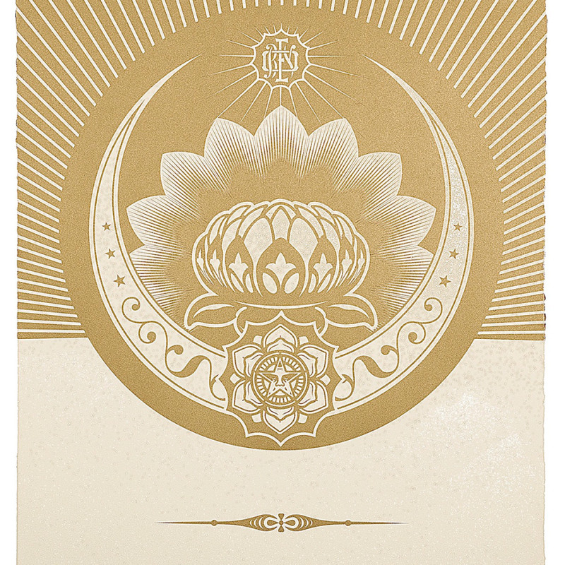 Shepard Fairey (OBEY), Obey Lotus Crescent - White and Gold