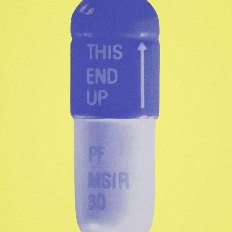 Damien Hirst, The Cure - Neon Yellow/French Lilac/Amethyst