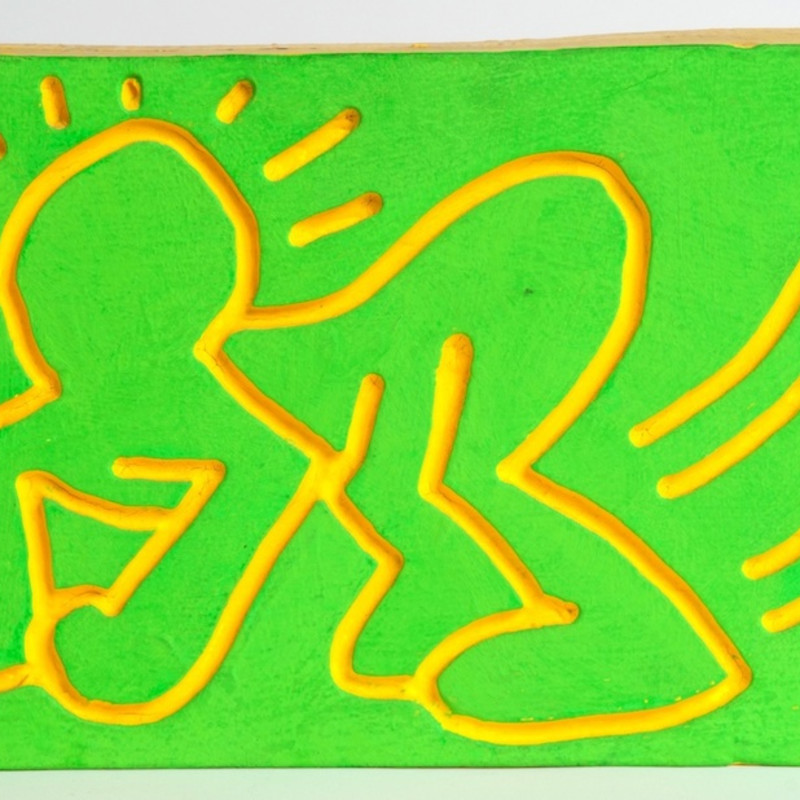 Keith Haring, Crawling Radiant Baby Wood Carving, 1983