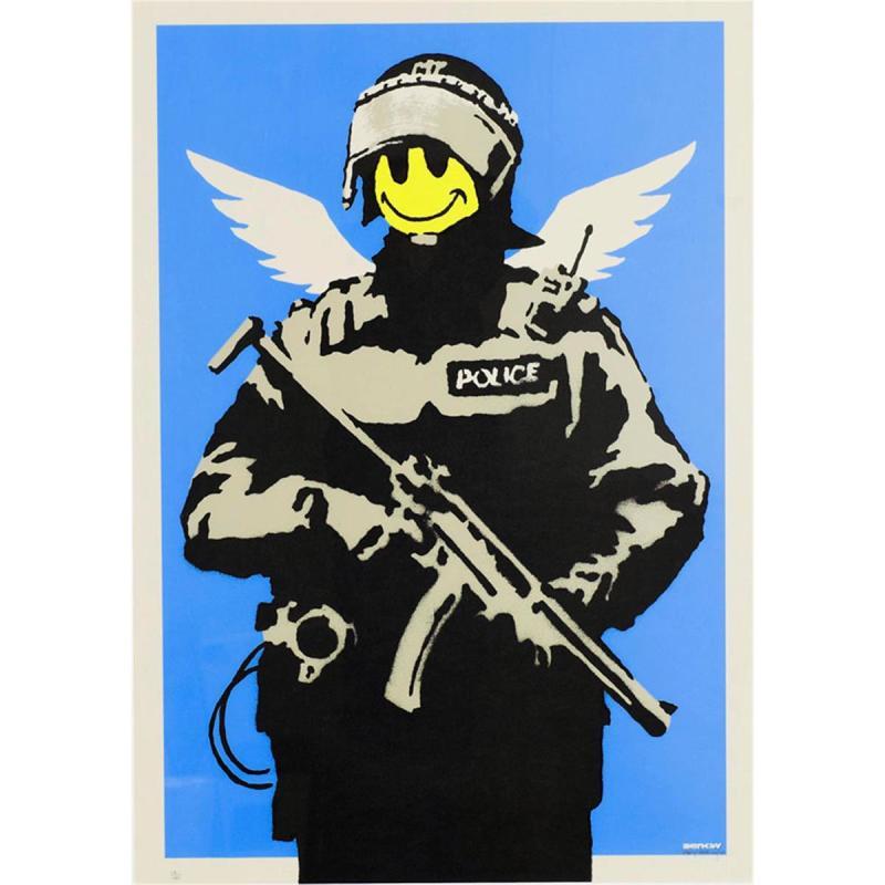 Banksy, Flying Copper (Blue), 2003