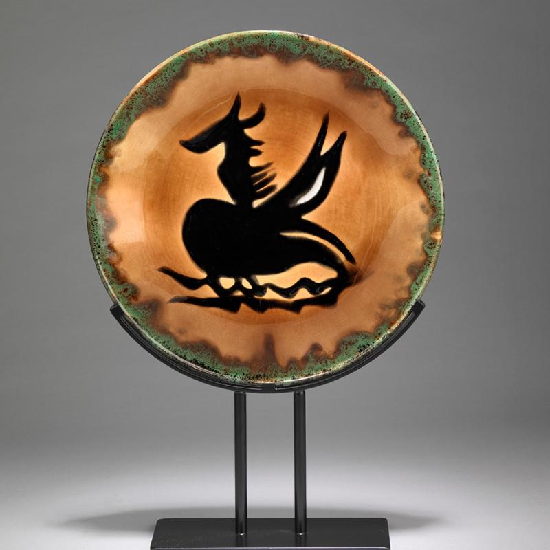 Jean Lurçat, Plate - Orange & Green - Pegasus, c. 1955