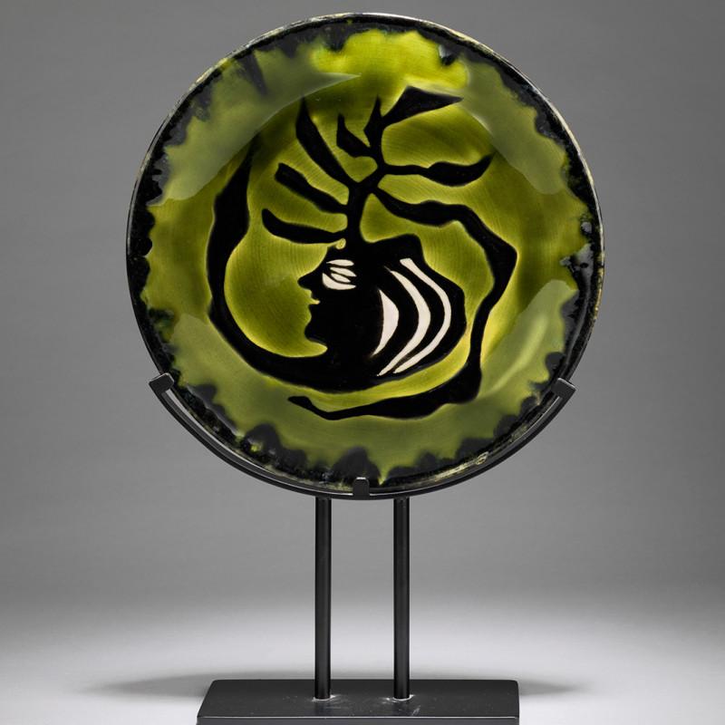 Jean Lurçat, Plate - Green & Black - Medusa, c. 1955