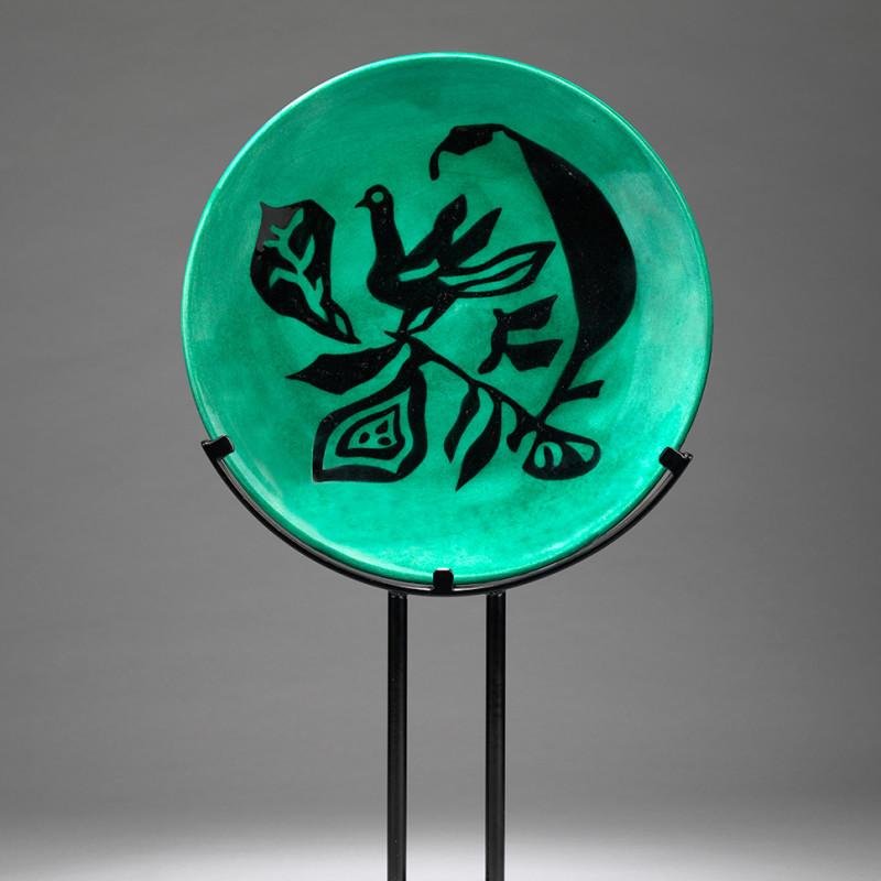 Jean Lurçat, Plate - Green - Nightingale, c. 1955