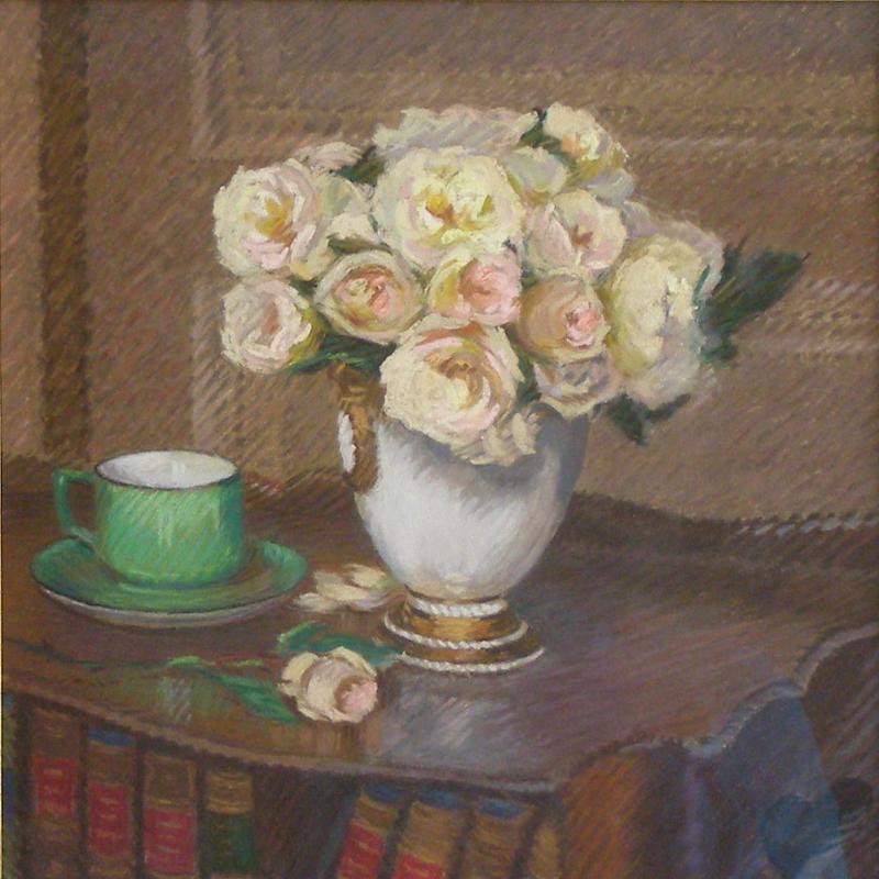 Claude Emile Schuffenecker, Vase de Roses et la Tasse Verte, Circa 1886-1890