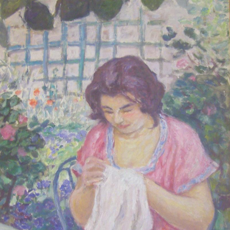 Benjamin-Marie-Albert André, Femme en Rose Cousant dans le Jardin, circa 1912