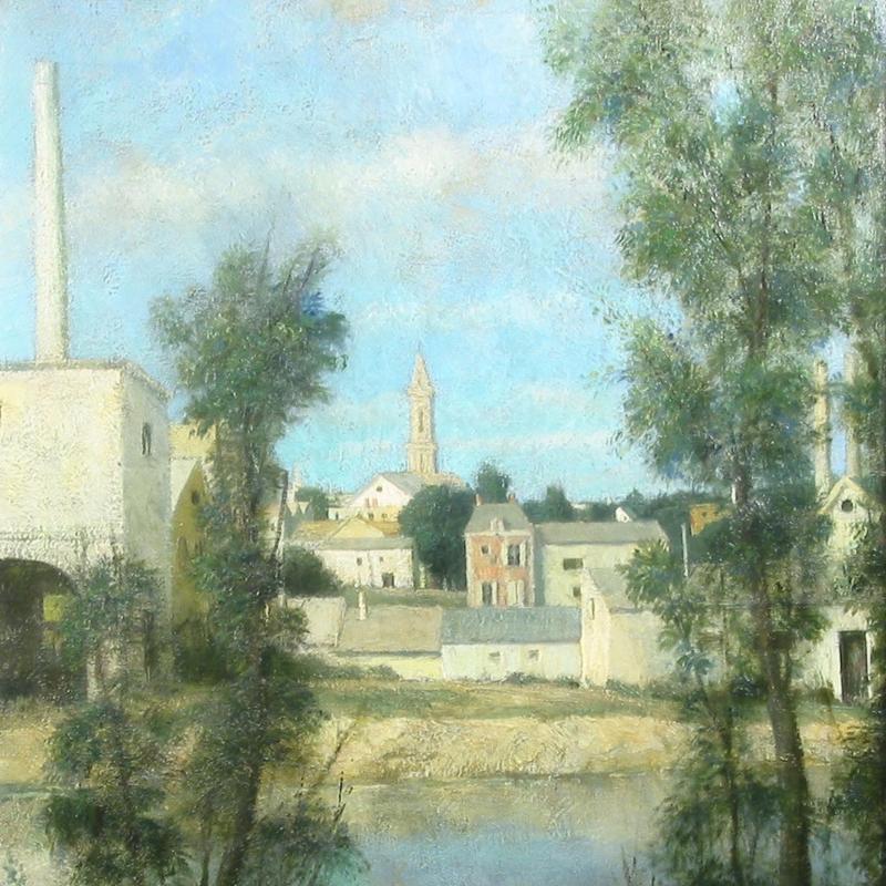 John Koch, Village by the River, Circa 1940