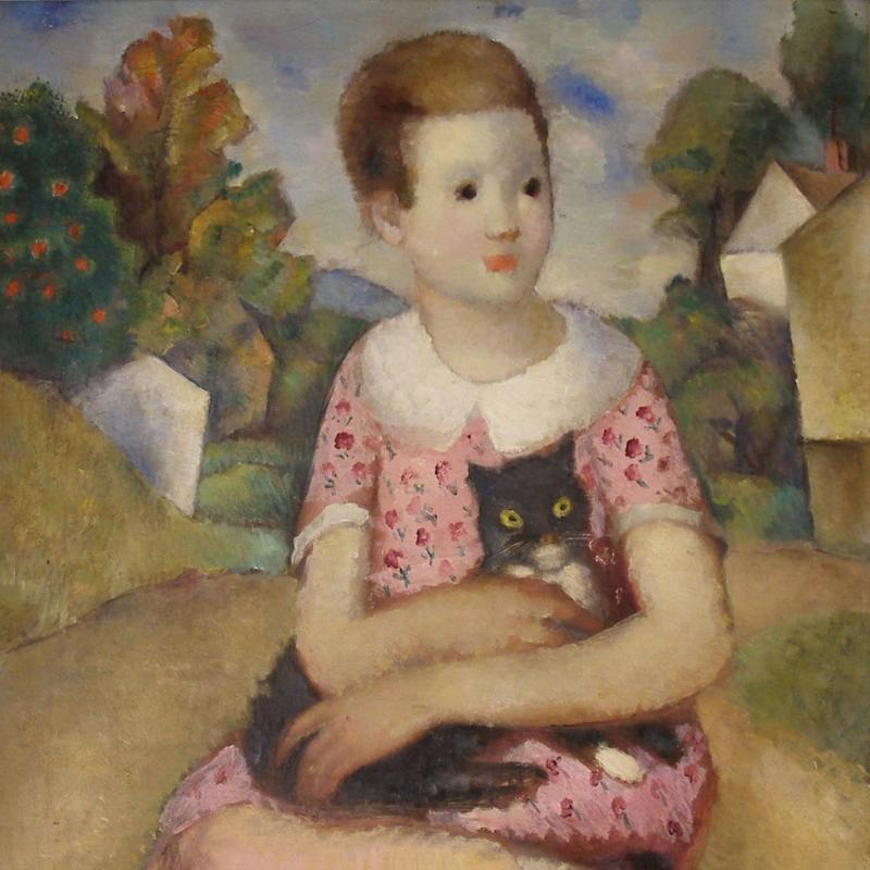 Simka Simkhovitch, Young Girl with a Black Cat, 1929