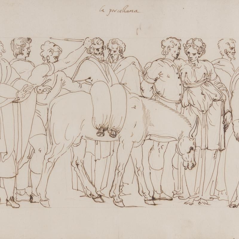 Ercole Setti, La Porcellana: A Market Scene of Porcelain Vendors, Circa 1550-1600