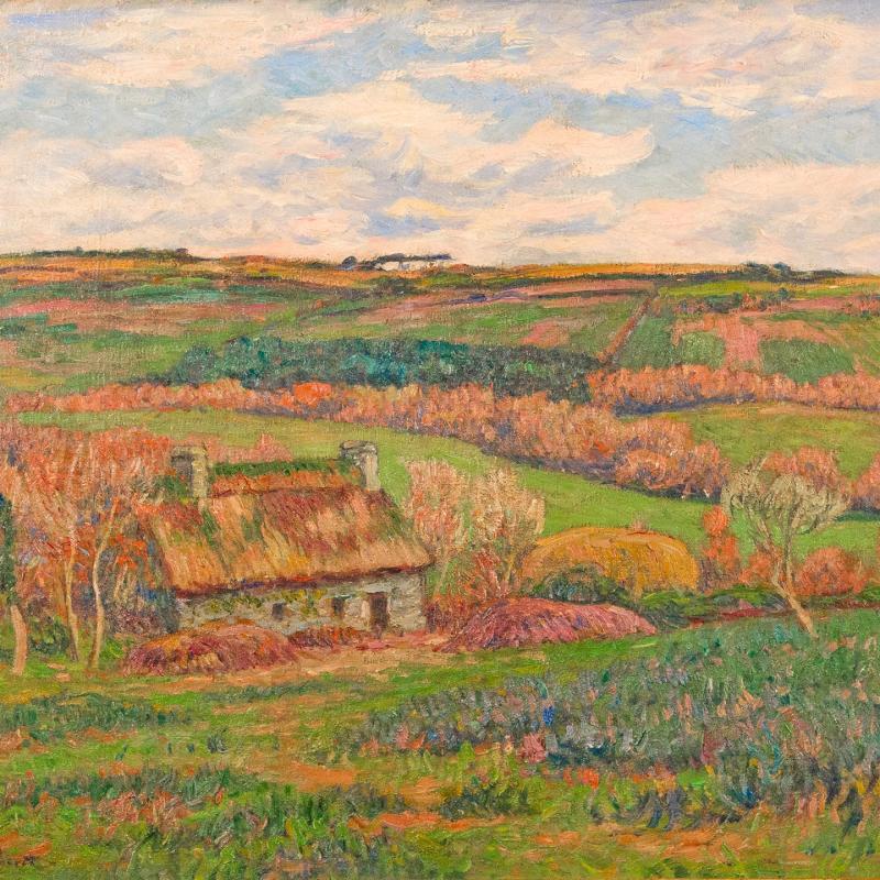 Henry Moret, Paysage à la Chaumière Bretonne, circa 1910